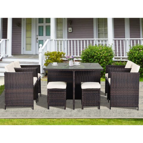 Leisure Zone 9 Piece Patio Rattan Dining Set with Cushions