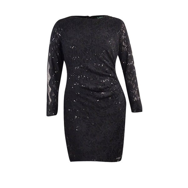 65fa2973 Shop Lauren Ralph Lauren Women's Petite Mesh Sequin Lace Dress - Black - On  Sale - Free Shipping Today - Overstock - 21474466