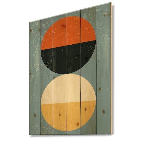 Designart 'Minimal Geometric Compostions Of Elementary Forms XXIII' Modern Print on Natural Pine Wood