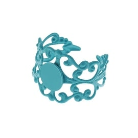 Turquoise Color Coated Brass Glue On Adjustable Ring (1)