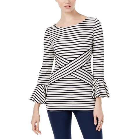 ECI New York Womens Knit Top Striped Bell Sleeve