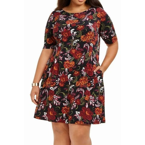 Connected Apparel Womens A-Line Dress Black 22W Plus Printed 3/4 Sleeve