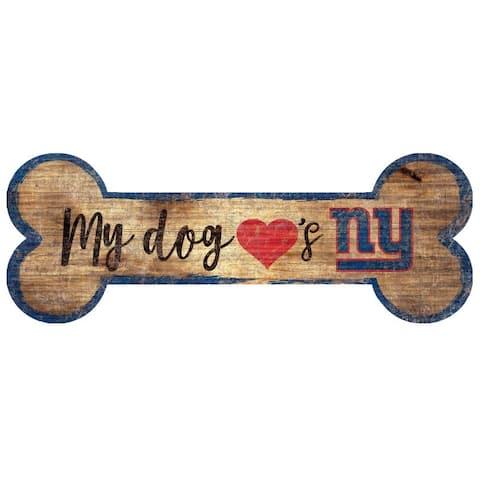 New York Giants Sign Wood 6x12 Dog Bone Shape - 6x12