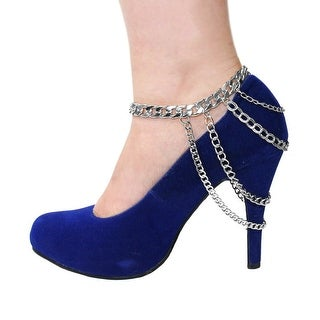 Rhodium Metal Layered Silver High Heel Ankle Chain