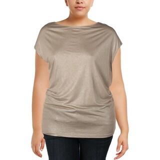 Lauren Ralph Lauren Womens Plus T-Shirt Metallic Jersey