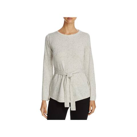 Heather B Womens Pullover Sweater Knit Belted
