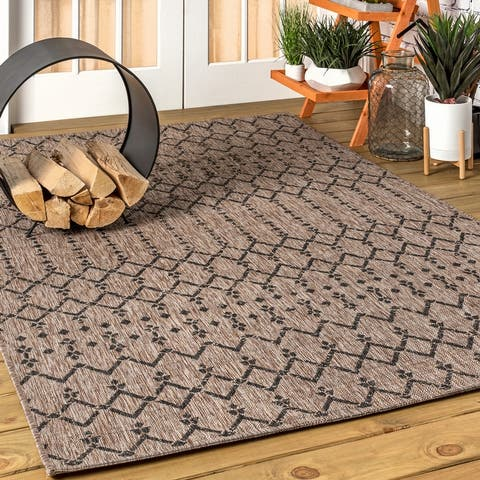 JONATHAN Y Ourika Moroccan Geometric Textured Weave Indoor/Outdoor Area Rug