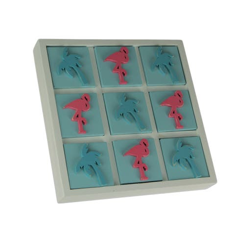Tropical Flamingo and Palm Tree Tic Tac Toe Game Board - 1.5 X 9 X 9 inches