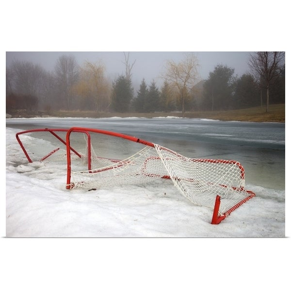 """Hockey net left from season in melting snow at Ottawa, Ontario, Canada."" Poster Print"