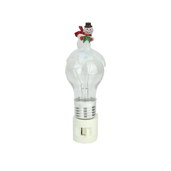 "6"" Frosted Light Bulb and Snowman Color Changing Christmas Night Light - black"