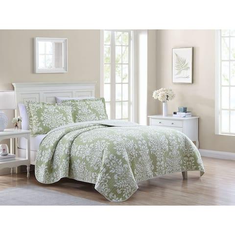 Laura Ashley Rowland Cotton Reversible Green Quilt Set
