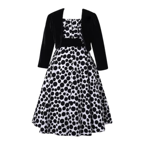 Richie House Girls' Long Style Polka Dot Dress with Cape