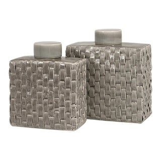 Set of 2 Chic Soft Gray Woven Textured Lidded Square Ceramic Canisters