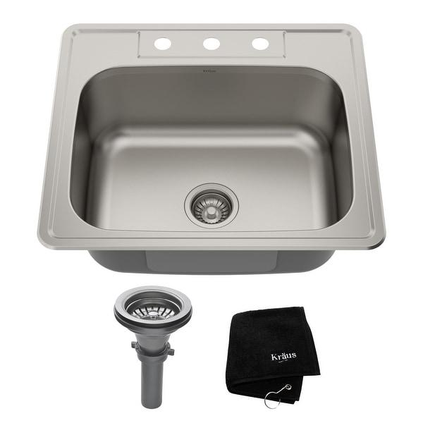 KRAUS Stainless Steel 25 inch 1-Bowl Topmount Drop-in Kitchen Sink. Opens flyout.