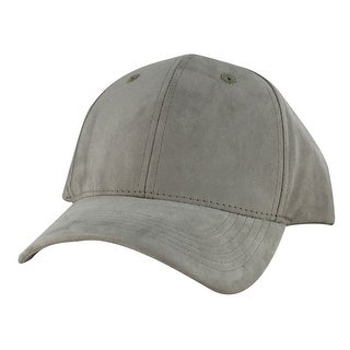 Suede Faux Mid Crown Curved Visor Velcro Adjustable Cap Hat - Khaki
