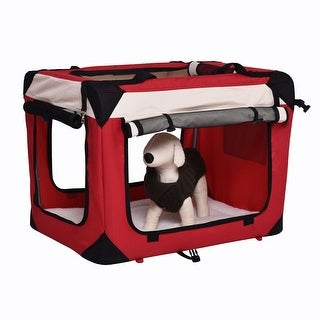 Costway L Sizes Pet Dog Carrier Portable House Soft Sided Cat Travel Tote Bag Red