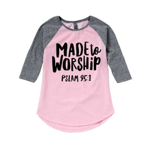 Made To Worship - Easter Toddler Girl Shirt Tail Raglan - Light Pink/Ath Hea