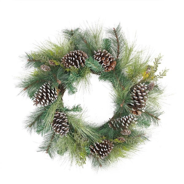 """28"""" Mixed Long Needle Pine and Pine Cone Artificial Christmas Wreath - Unlit"""