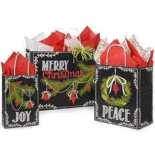 """(125 pack) Assortment Chalkboard Wishes Recycled Shopping Bags 50 Rose, 50 Cub, 25 Vogue (16"""" x 6"""" x 12"""")"""