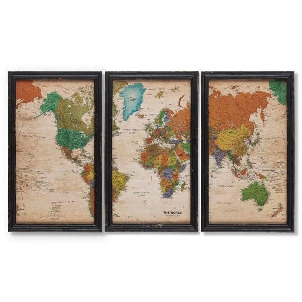 World Map Framed Wall Art.Shop Set Of 3 Traditional Style Tall World Map Framed Wall Art 23 5