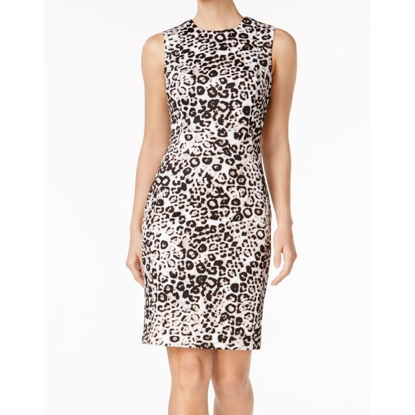 1a6543a3d9c6f Shop Calvin Klein Womens Petite Animal-Print Sheath Dress - Free ...