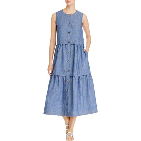 Lafayette 148 New York Womens Midi Dress Ruched Sleeveless - Blue Note Melange