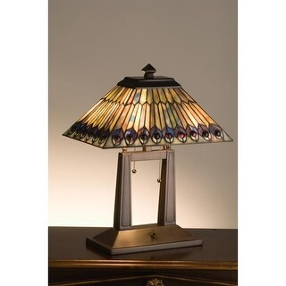 Meyda Tiffany 26300 Stained Glass / Tiffany Table Lamp from the Jeweled Peacock Collection - n/a