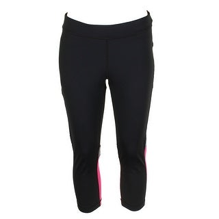 Tommy Hilfiger Black Fuchsia Essential Cropped Mid Rise Fitness Leggings L