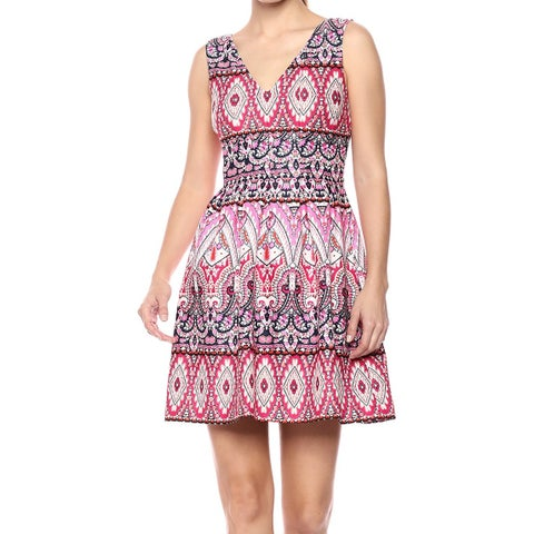 Vince Camuto Pink Womens Size 10 Pleated Printed A-Line Dress