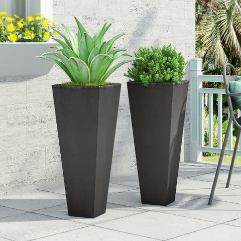 Ella Outdoor Cast Stone Outdoor Planters by Christopher Knight Home