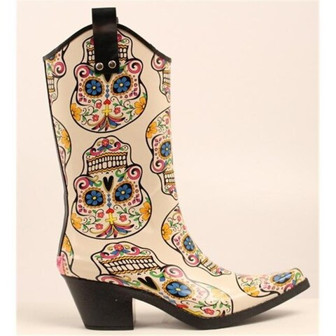Ladies Roxy Sugar Skull Snip Toe Rain Boots, Multi Color - Siz