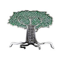 Rhinestone Encrusted Tree Of Life Belt Buckle