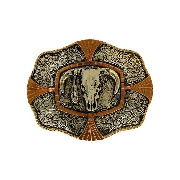 Crumrine Western Belt Buckle Bull Skull Silver 3 3/4 x 4 1/4 - 3 3/4 x 4 1/4