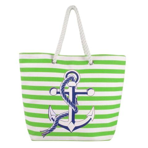Eshma Mardini Striped Canvas Beach Bag Anchor Design - Tote Bag