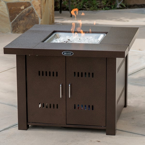 Belleze Outdoor Patio Heaters 40,000BTU LPG Propane Fire Pit Table,  Hammered Bronze, CSA