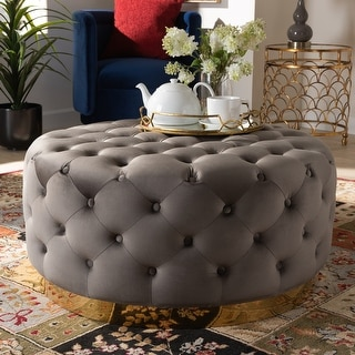 Link to Silver Orchid Glam and Luxe Upholstered Round Cocktail Ottoman Similar Items in Ottomans & Storage Ottomans
