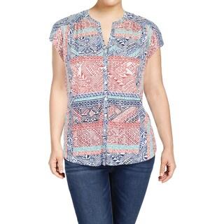 Lucky Brand Womens Button-Down Top Kniit Printed - xL