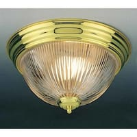 Volume Lighting V7211 2 Light Flush Mount Ceiling Fixture with Clear Ribbed Glas