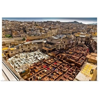 """""""The tannery of Fez, Morocco"""" Poster Print"""