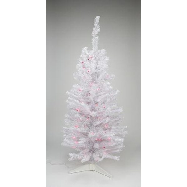 "2' x 12"" Pre-Lit Slim White Tinsel Artificial Christmas Tree - Pink Lights"