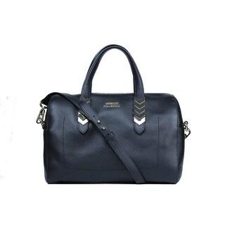 Versace Collection Blue Pebbled Leather Arrow Top Handle Shoulder Bag