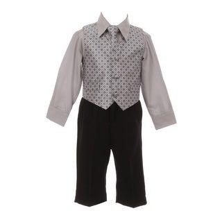 Baby Boys Dark Gray Diamond Pattern Neck Tie Vest Shirt Pant 4 Pc Suit
