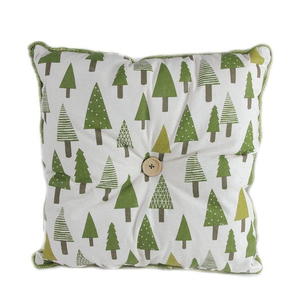 """15"""" Forest Green Tree Print Rustic Woodland Decorative Christmas Throw Pillow"""