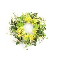 "Pack of 2 Yellow Hydrangea and Green Foilage Artificial Decorative Wreath 22""-Unlit"