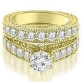 2.90 cttw. 14K Yellow Gold Antique Cathedral Round Cut Diamond Engagement Set,HI,SI1-2 - Thumbnail 0