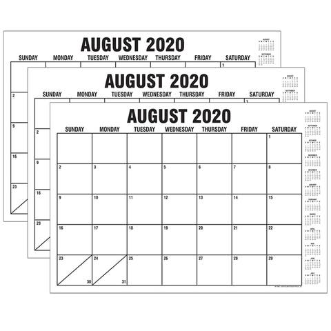 "B&W Basic Academic Calendar with Previews, August-July, 13"" x 19"", Pack of 3 - One Size"