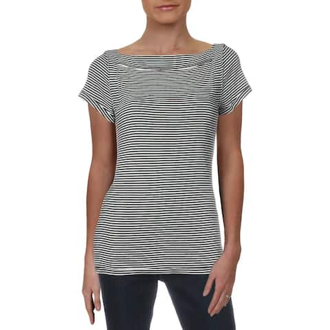 We The Free Womens Ahoy Pullover Top Striped Boat Neck - Navy/White - L