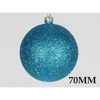 70mm Glitter Aqua Ball Ornament with Wire - Pack of 12