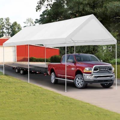 Ainfox 10 x 20 ft Outdoor Heavy Duty Carport Car Canopy Portable Steel Garage Tent for Party, Wedding, Outdoor Activities