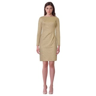 Lauren Ralph Lauren Petite Selene Metallic Long Sleeve Sheath Dress - 2p